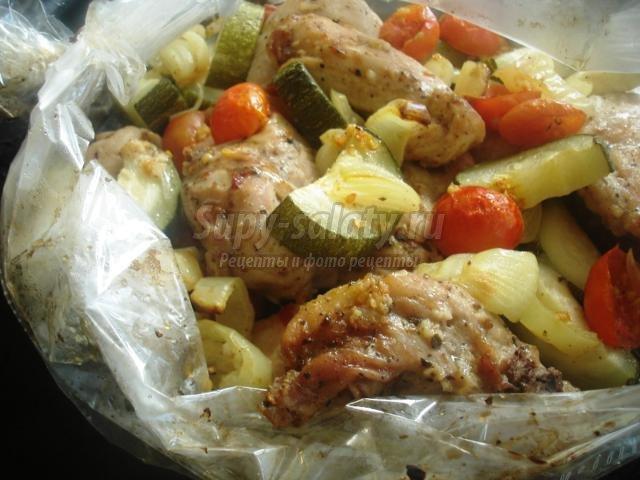 рецепт цукини с курицей в духовке