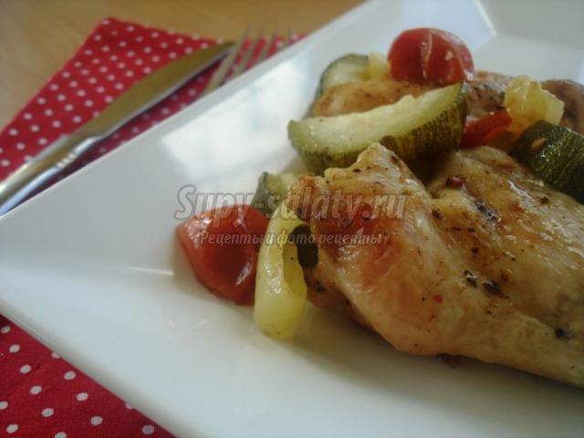 курица с цукини и помидорами-черри