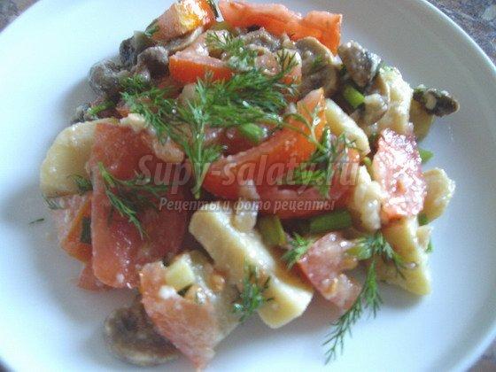 Салат с грибами и помидорами: лучшие рецепты
