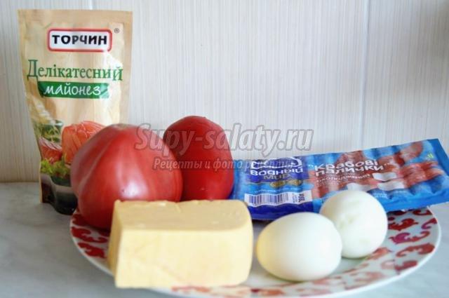 салат с сыром, крабовыми палочками. Красное море