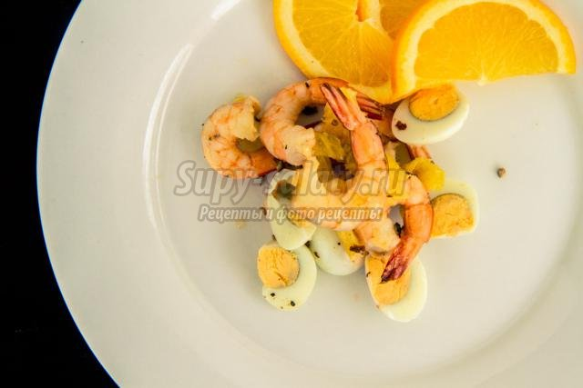 новогодний салат с апельсинами и креветками