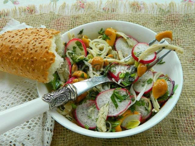 салат из курицы, редиски и маринованных опят