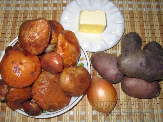 Маслята с картошкой тушёные