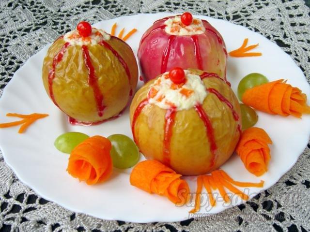 Тыква запеченная с яблоками и творогом в духовке рецепт