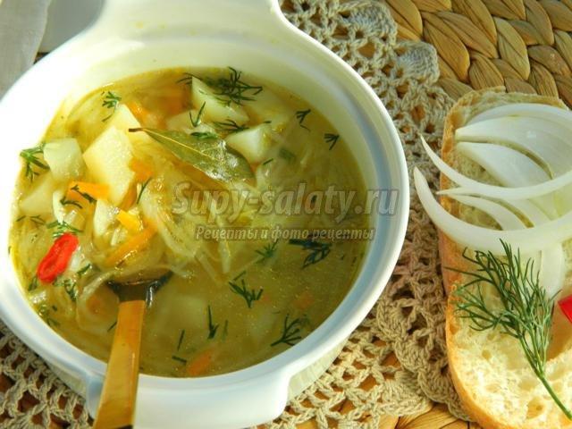 Супы без мяса с капустой рецепт с фото