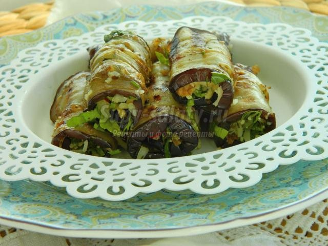 баклажаны гриль с сыром и грецкими орехами