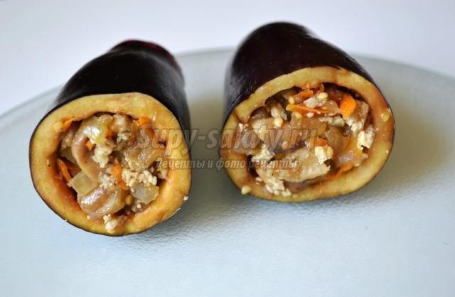фаршированные баклажаны с грибами и мясом