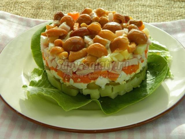 Салат с маринованными опятами слоями рецепт пошагово