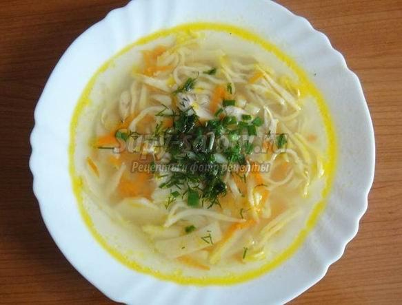 Сытный суп с курицей и вермишелью