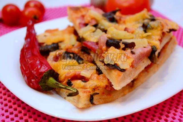 Пицца ананасами рецепт фото пошагово