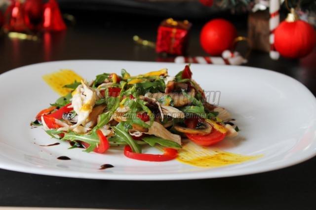 новогодний салат с курицей и шампиньонами. Желание