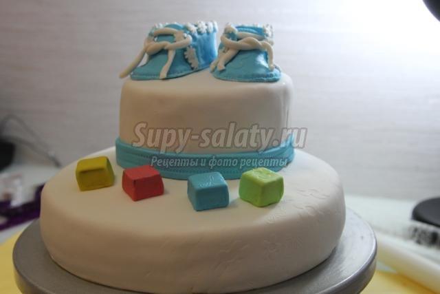 Торт из мастики с днем рождения