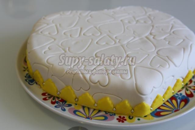 Бисквитный торт с мастикой рецепт с фото в домашних условиях пошагово