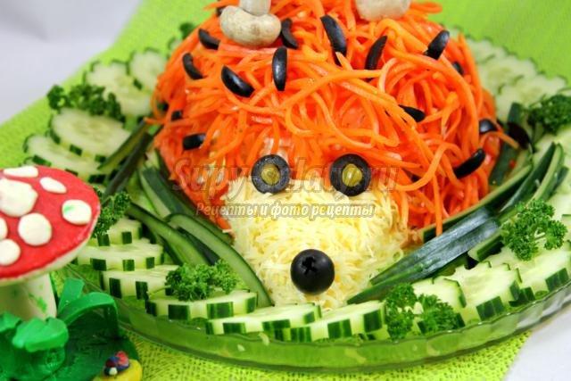 салат с корейской морковью. Ежик