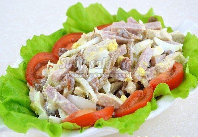 Салат мужской каприз рецепт с ветчиной и грибами и огурцами