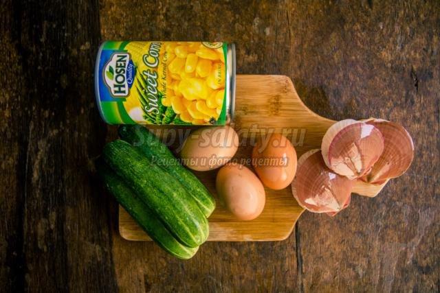 салат с гребешками и кукурузой на Новый год