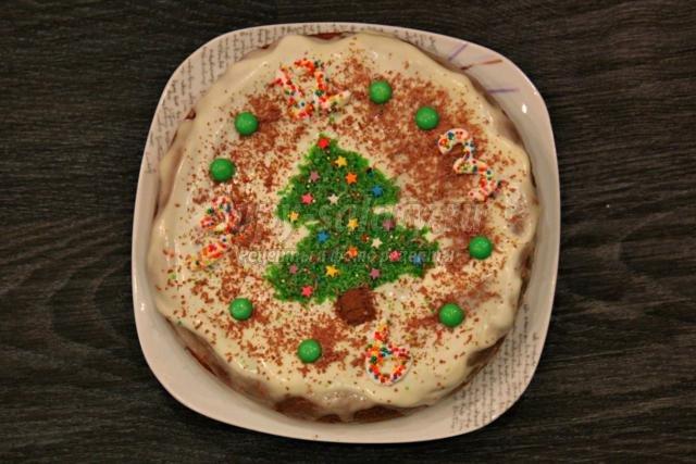 торт со сметанным кремом на Новый год. Ёлочка