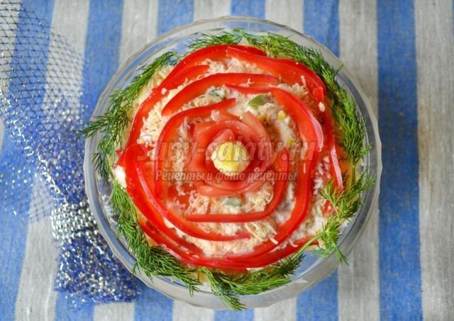 Салат царский с семгой рецепт с фото рулетом