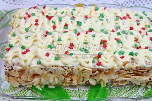 белковый торт с миндальными и грецкими орехами
