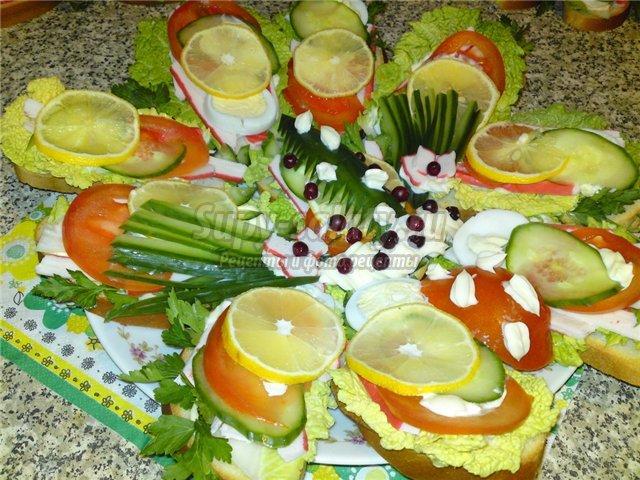 Бутерброды на праздничный стол. Фото и рецепты