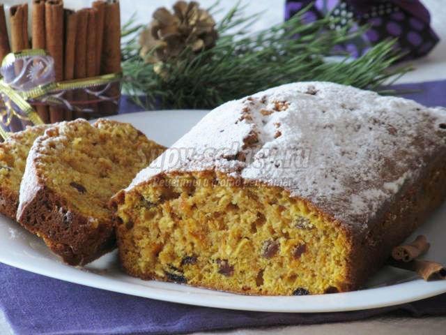 рождественский тыквенный кекс с изюмом