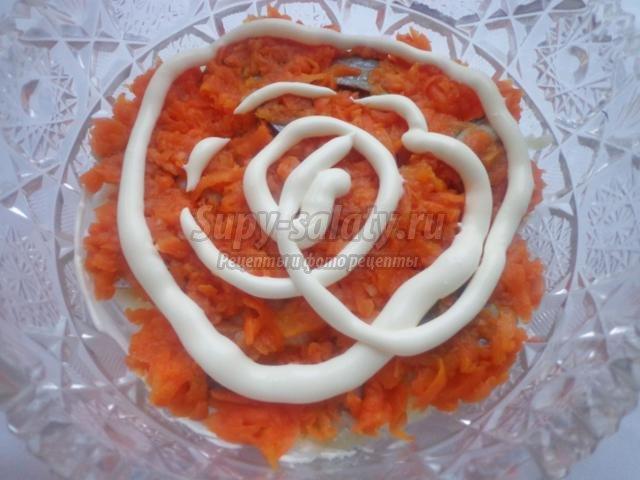 праздничный салат с морковью. Шуба