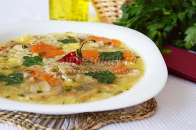 быстрый грибной суп с рисом