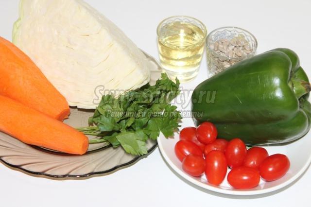 салат овощной с семенами подсолнечника