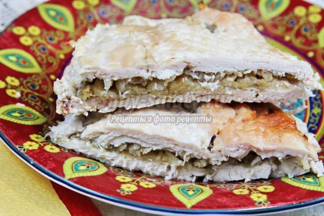 диетическая куриная отбивная, фаршированная яблоками
