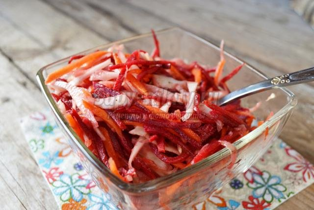 диетический салат из капусты, моркови и свеклы. Метелка