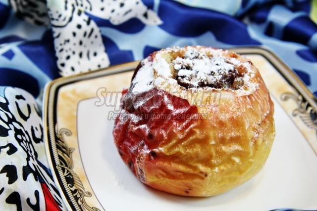 печеные яблоки с курагой, черносливом, изюмом и корицей