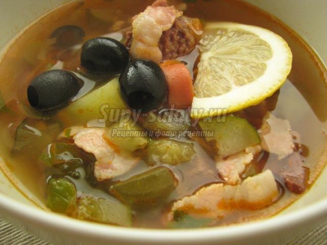 Солянка рецепт с оливками и колбасой рецепт с пошагово