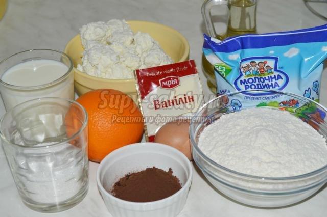 шоколадные блинчики с творогом и апельсинами