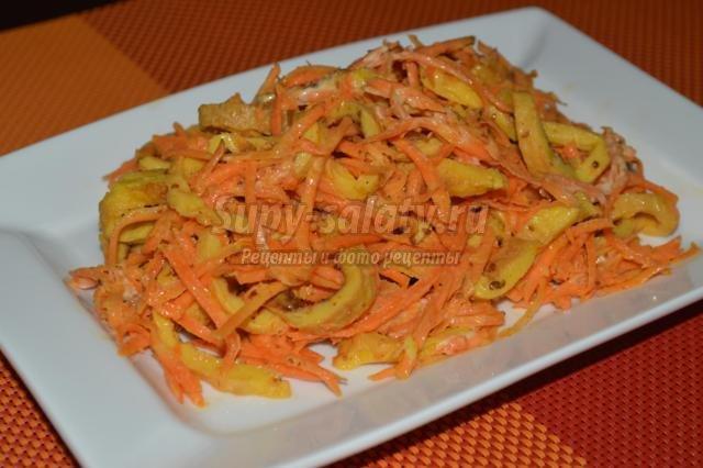 Салат с корейской морковью и омлетом и ветчиной