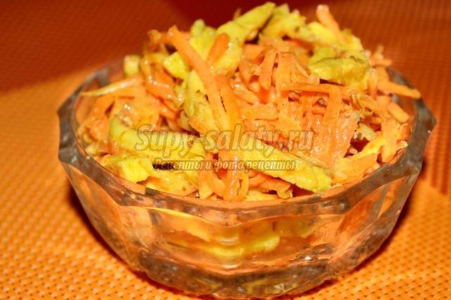 салат из моркови с омлетом