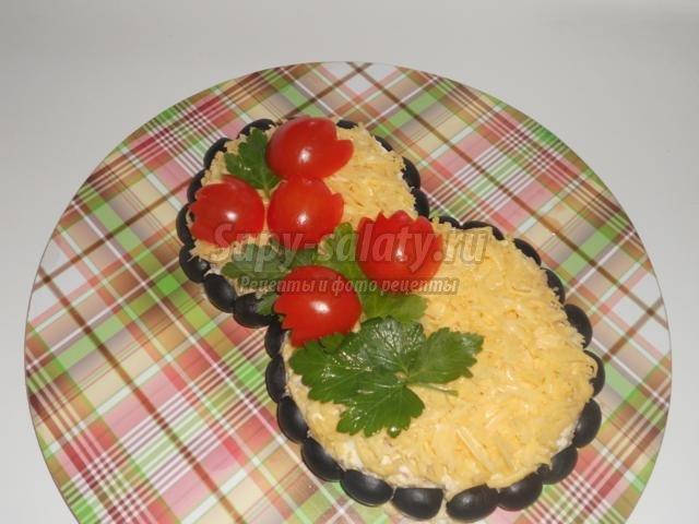 салат со шпротами к 8 Марта. Весенний букет