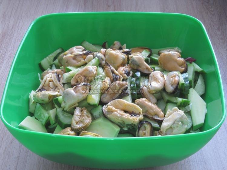 Салат с мидиями и авокадо рецепт с
