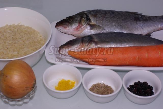 постный рыбный плов с сибасом