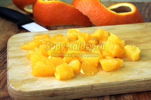 диетический салат из свеклы, курицы и апельсина