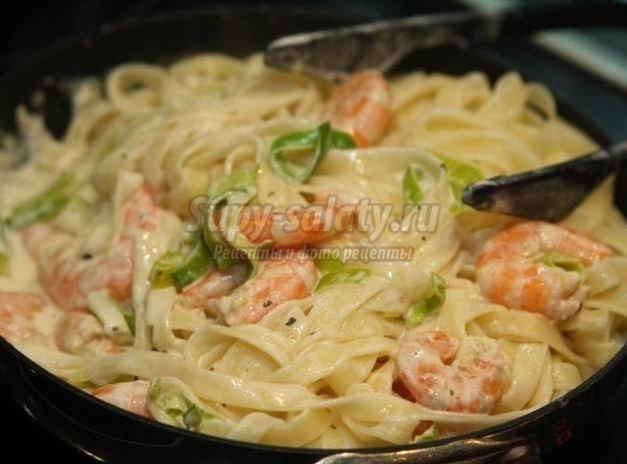 Паста с морепродуктами: рецепт со сливками