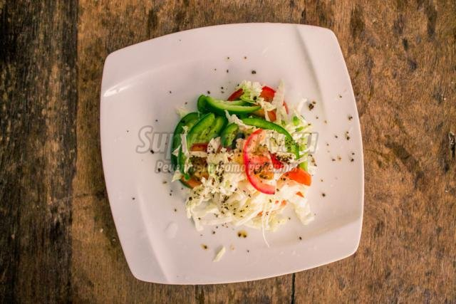 салат из капусты, перца и помидор. Метелка