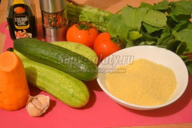 постный тёплый салат из кус-куса и овощей