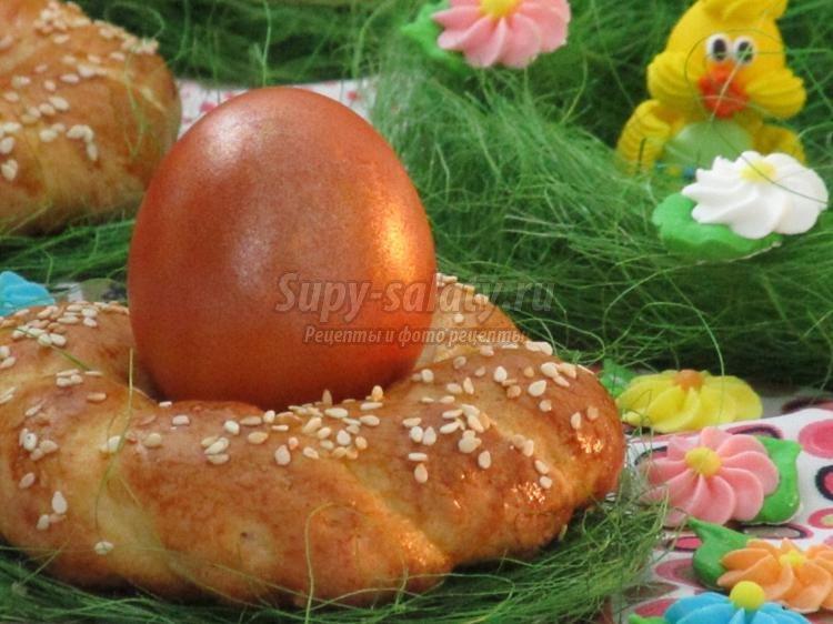 пасхальная выпечка. Веночки-подставки для яиц