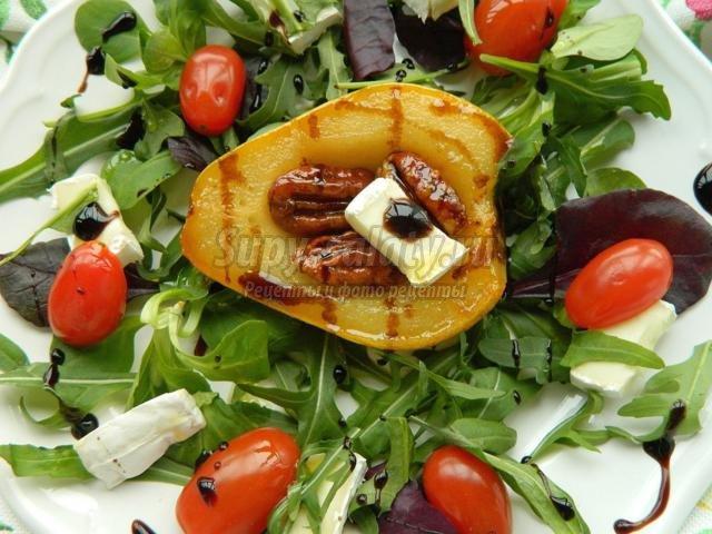 салат с грушей в карамели