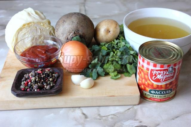борщ с консервированной фасолью и кинзой