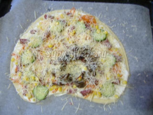 Пицца из жидкого дрожжевого теста в духовке рецепт с фото