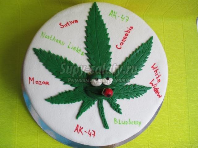 Торт в виде конопли марихуана и мокрота