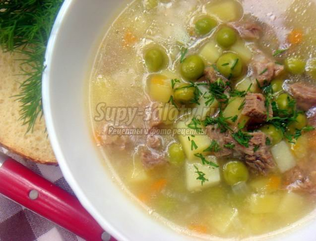 Вкусный и легкий суп с зеленым горошком