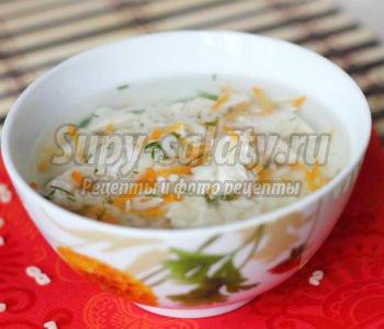 рисовый суп с фигурными макаронами в пароварке