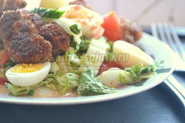 салат с говяжьими мозгами и пекинской капустой